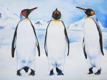 Tre pinguini reali illustrazione di stock