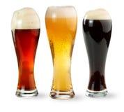Tre pinte di birra Fotografia Stock