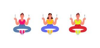 Tre plus-format kvinnor sitter i en meditationposition med en gaffel och en kniv i deras händer, i jeans, t-skjorta och gymnastik vektor illustrationer