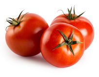 Tre pomodori maturi rossi Fotografia Stock