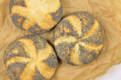 Tre Poppy Seed Rolls, dettaglio Fotografie Stock Libere da Diritti