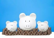 Tre porcellini salvadanaio in una fila con le pile di fondo del blu delle monete fotografia stock libera da diritti