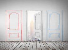 Tre porte tirate in muro di cemento Fotografia Stock Libera da Diritti