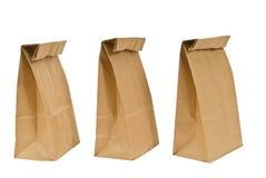 Tre pranzi del sacco di carta Fotografia Stock