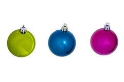 Tre prydnader för coloresjulboll Fotografering för Bildbyråer