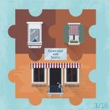 Tre puzzle con le finestre Fotografia Stock
