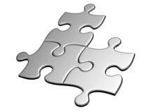 Tre puzzle premuti Fotografie Stock Libere da Diritti