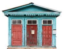 Tre röda åldriga spruckna retro röda dörrar Royaltyfria Foton