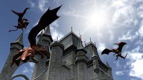 Tre röda drakar som anfaller slotten royaltyfri illustrationer
