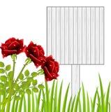 Tre röda rosor och tabell med trätextur royaltyfri illustrationer
