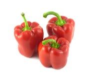 Tre röda spanska peppar som tätt isoleras upp Royaltyfri Foto