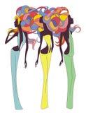 Tre ragazze antiche della siluetta Immagini Stock Libere da Diritti