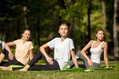 Tre ragazze che fanno allungamento sulle stuoie di yoga su erba verde nel parco sull'aria aperta immagini stock