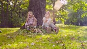 Tre ragazze che si siedono nel parco e che mangiano granato video d archivio