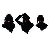 Tre ragazze con il vettore delle sigarette Immagini Stock