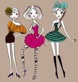 Tre ragazze di modo Immagine Stock