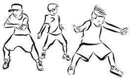 Tre ragazzi, pagina di coloritura, coreografia hip-hop royalty illustrazione gratis