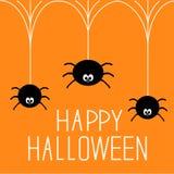 Tre ragni d'attaccatura. Carta felice di Halloween. Immagine Stock