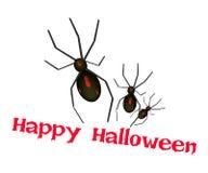Tre ragni diabolici con la parola Halloween felice Immagini Stock