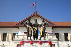 Tre re Monument nel centro di Chiang Mai, Tailandia Fotografia Stock