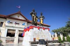 Tre re Monument nel centro di Chiang Mai, Tailandia Immagine Stock Libera da Diritti