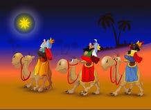 Tre re sui cammelli Fotografie Stock Libere da Diritti