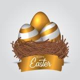 Tre realistiskt dekorativt ägg för grupp 3D med guld- färg på fågelredet med det guld- färgstänktextbanret vektor illustrationer