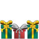 Tre regali con i nastri luminosi royalty illustrazione gratis
