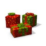 Tre regali di Natale Fotografia Stock Libera da Diritti