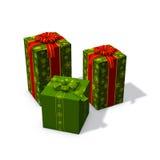 Tre regali di Natale verdi Fotografia Stock