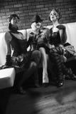 Tre retro femmine. immagine stock