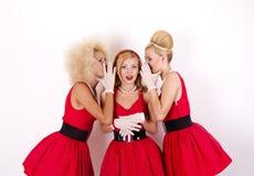 Tre retro flickor Arkivfoton
