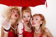 Tre retro flickor Royaltyfria Bilder