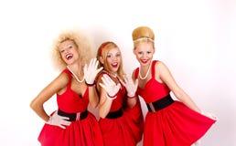 Tre retro ragazze Immagini Stock Libere da Diritti