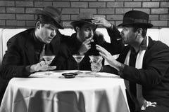Tre retro uomini d'affari. Fotografia Stock Libera da Diritti