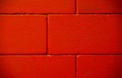 Tre righe parete dipinta calcestruzzo del mattone rosso Immagini Stock Libere da Diritti