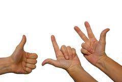 Tre räknande händer Fotografering för Bildbyråer