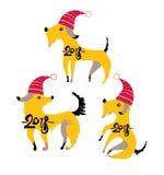 Tre roliga gula hundkapplöpning i röda festliga lock Arkivfoto