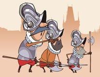 Tre roliga vakter för tecknad filmtecken Fotografering för Bildbyråer