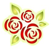 Tre rose decorate Fotografia Stock Libera da Diritti