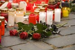 Tre rose funeree Fotografie Stock Libere da Diritti