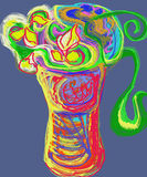 Tre rose nel vaso gradiscono l'albero Fotografie Stock