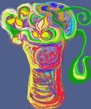 Tre rosor i vasen gillar trädet Arkivfoton