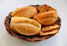 Tre rotoli frances e biscotti fotografia stock