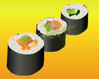 Tre rulli di sushi Immagine Stock Libera da Diritti