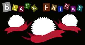 Tre runda baner på Black Friday bakgrund Royaltyfri Fotografi
