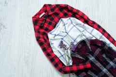 Tre rutiga skjortor, collage trendigt begrepp Royaltyfri Fotografi