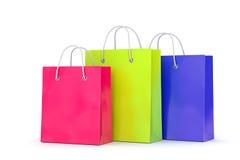 Tre sacchetti della spesa su fondo bianco Immagini Stock