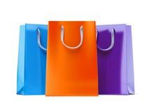 Tre sacchi di carta Fotografie Stock