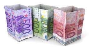 Tre sacco di carta dieci, cento, cinquecento euro Immagine Stock Libera da Diritti